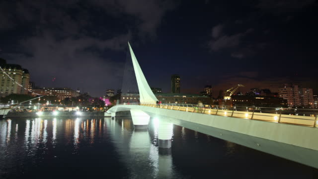 Buenos Aires bridge in Puerto Madero at night, Argentina