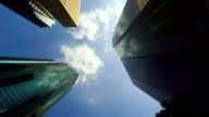 Building and rail transit line- look up at the sky-4K-