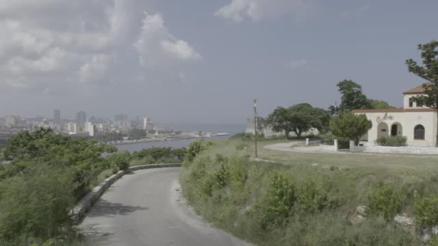 Building overlooks Havana Cuba harbor and skyline