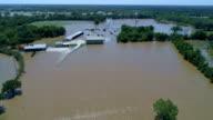 gebouwen en huizen onder water overstromingen in de nasleep van de Orkaan Harvey van Columbus, Texas, USA