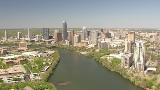 WS AERIAL buildings with Colorado River / Austin, Texas, United States