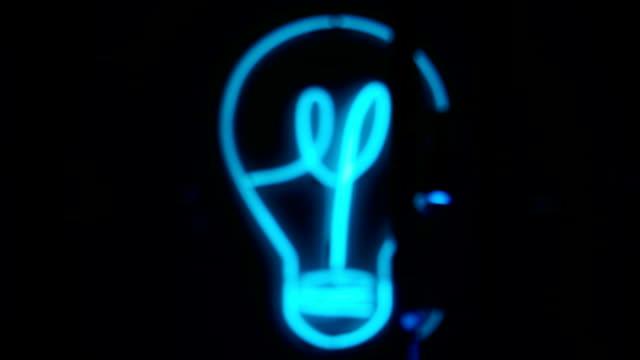 Bulb, Light, Turquoise neon
