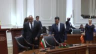 Bulgarian Prime Minister Boyko Borisov accompanied by his Macedonian counterpart Zoran Zaev inspects honor guards during a welcoming ceremony in...