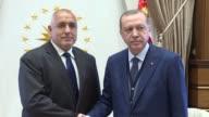 Bulgarian Prime Minister Boyko Borisov is received by Turkish President Recep Tayyip Erdogan at presidential complex in Ankara Turkey on June 13 2017