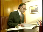 House of Lords Judgement LIB Former Home Sec Michael Howard MP working at desk LIB House of Lords building LIB Ralph and Denise Bulger presenting...