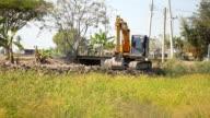 Bulldozer move forward and dig
