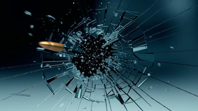 Bullet exploding a glass pane