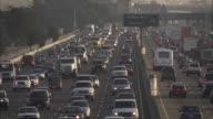 WS HA Bumper to bumper traffic on highway / San Francisco, California, USA