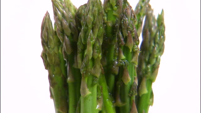 MS Bundle of asparagus rotating against white background / Orem, Utah, USA