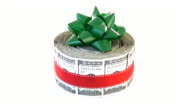 Bundle Of Cash with bow. Money, finance, gift, present concept.