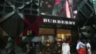 A Burberry logo is displayed on an advertisement at the companys store on Canton Road in the Tsim Sha Tsui area of Hong Kong on Tuesday Oct 28...