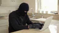Burglar hacking into laptop