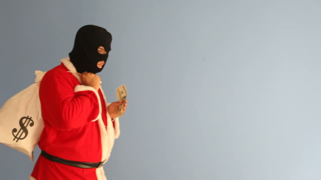 Burglar Saint Nicholas Stealing Dollar Bills