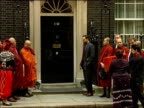 Burmese monks delivering petition to Downing Street ENGLAND London Downing Street EXT Burmese monks along with human rights campaigners and others to...
