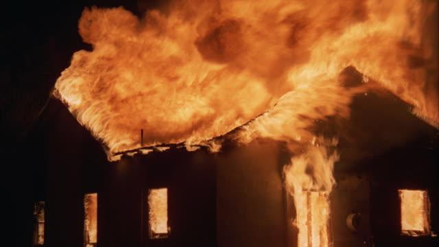 CU, Burning building at night