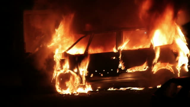 Burning car in the night