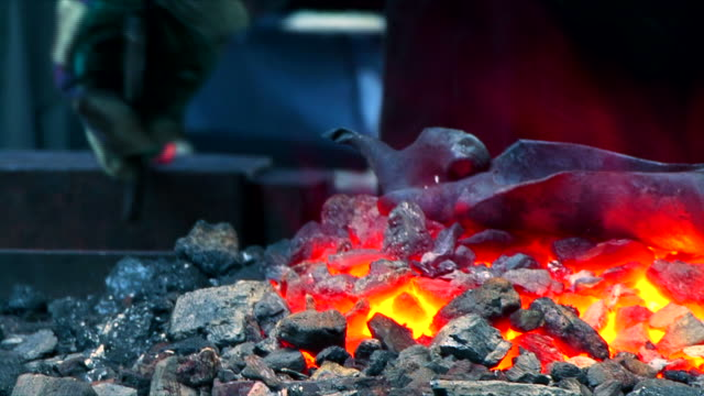 Burning Coal in Blacksmith Shop