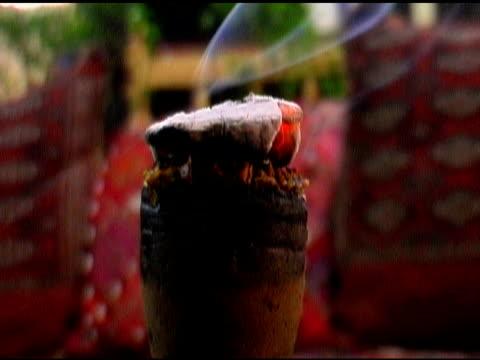 Burning Coal Tobacco on top Nargile Turkish Water Pipe Hookah