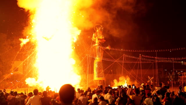 Burning effigy in dussehra festival, Delhi, India
