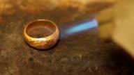 Burning gold ring
