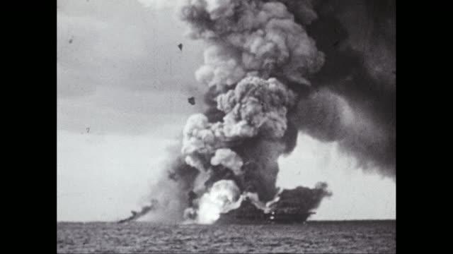WS Burning smoking, exploding warships at sea / United States