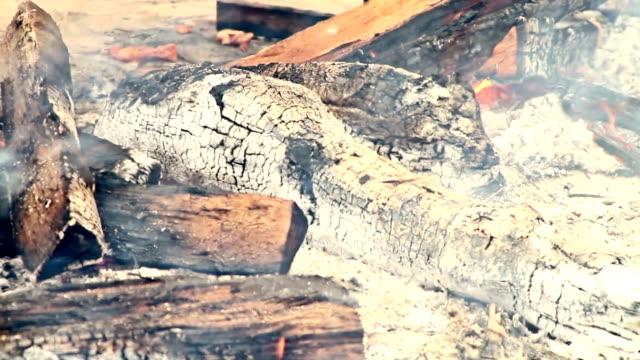 Burning wood ashes