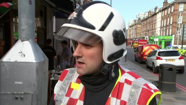 Bus crashes into shop front in Lavender Hill Ben King interview SOT