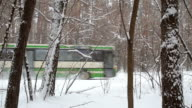 Bus drives past on snow-covered road in the forest.