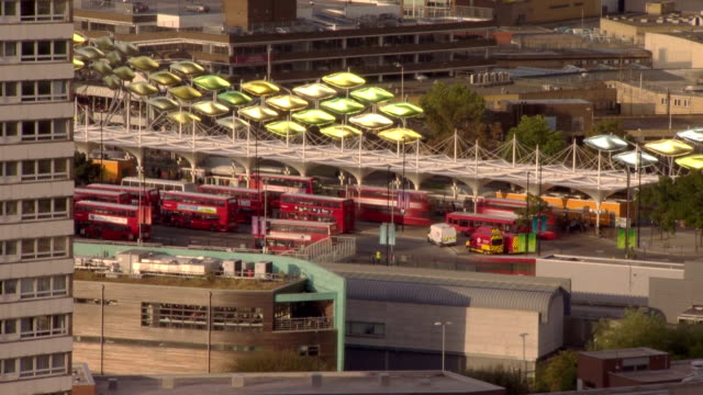 Buses arriving waiting and departing at Stratford Bus Station located just on the edge of the London 2012 Olympic Park Timelapse Paralympic Stratford...