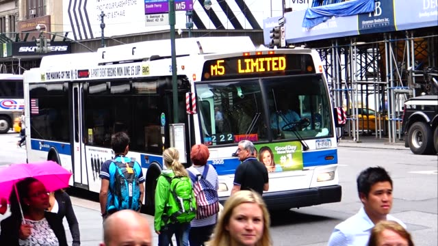 MTA Buses Summer morning rush hour traffic Public Transportation Mass Transit Midtown Manhattan 42nd Street 5th Avenue New York City USA / M1 M2 M3...