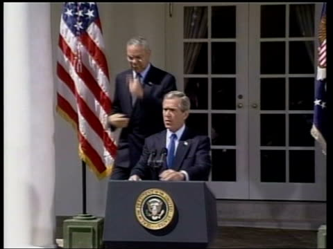 Bush stern words to Israel US USA Washington White House EXT LMS US President George W Bush out of White House and along verandah MS Bush and US...