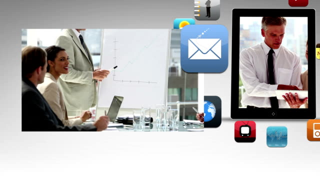 Business animation showing meeting and app icons