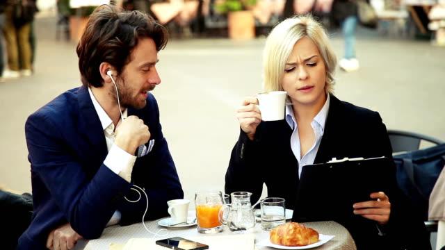 Business couple taking a break