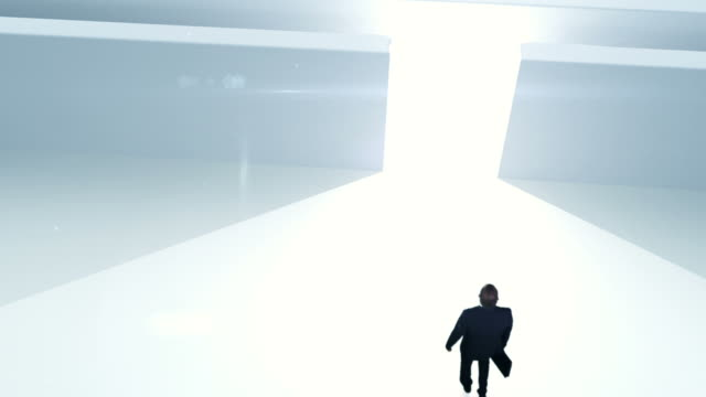 Business man in labyrinth