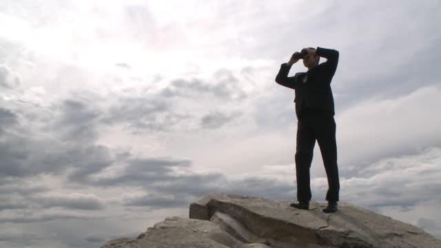 Business man surveys the horizon