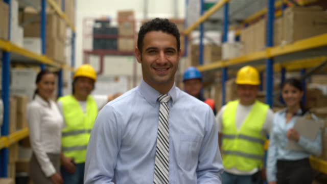 Business man working at a warehouse