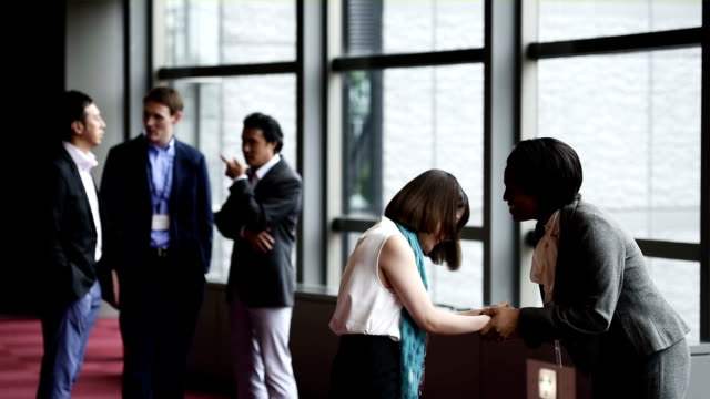 Business meet and greet at a conference