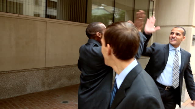Business Men Celebrate in City