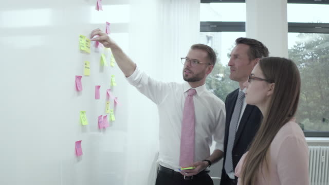 business people brainstorming / sticking notes to a wall