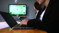 Business people meeting Video conferencing with green screen monitor