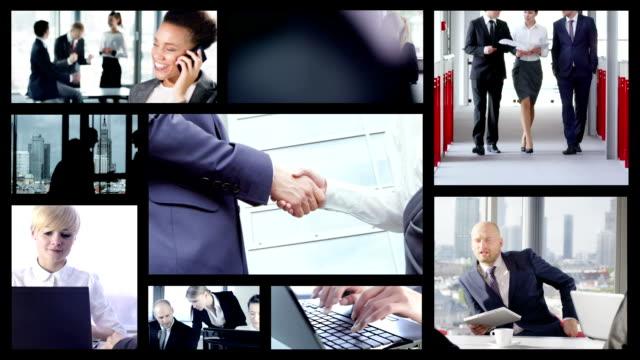 Business persone.  Split schermo