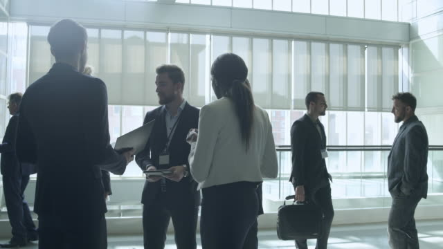 Business people talking after conference 4K Video