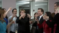 MS Business people toasting with champagne in office, Dallas, Texas, USA