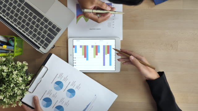 Business people Working with Statistics