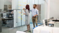 Business people writing ideas at adhesive notes in conference room