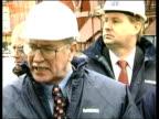 Shipbuilding Kvaerner Job Losses ITN SCOTLAND Clydebank Govan Ship in scaffolding in ship yard Dockers looking up at ship Ship in scaffolding Workers...