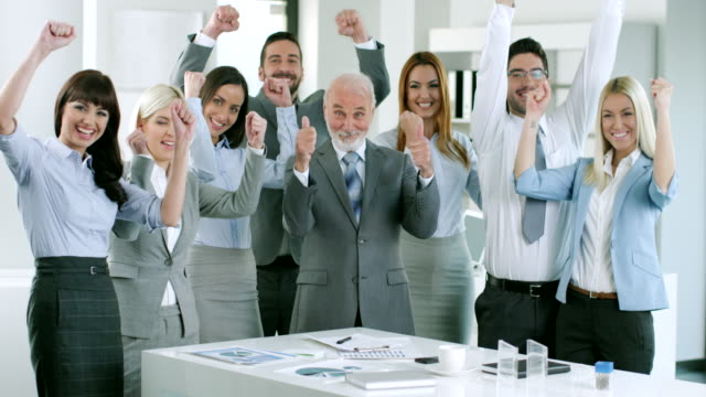 Business team celebrate