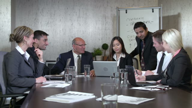 Business team in a boardroom meeting