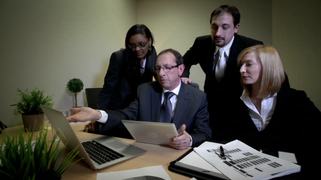 Business team meets in an office