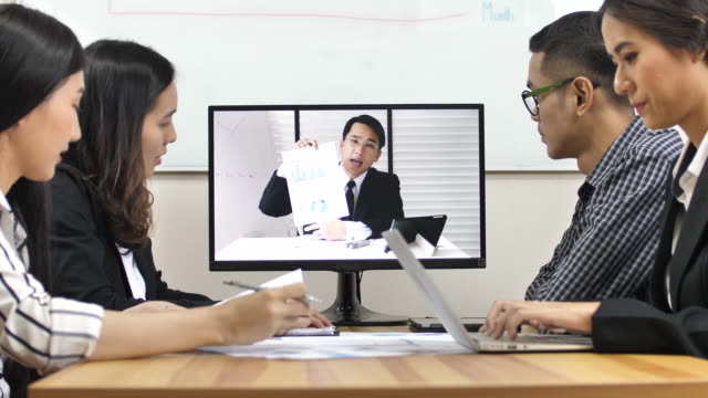 Business Team Video konferens möte med VD